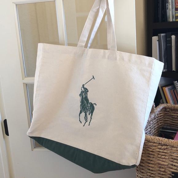 Ralph Lauren Pony Slim Handbag Beige Canvas